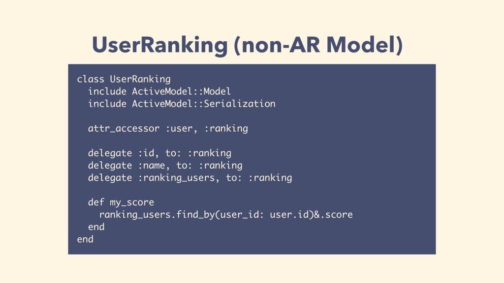 UserRanking (non-AR Model) class UserRanking in...