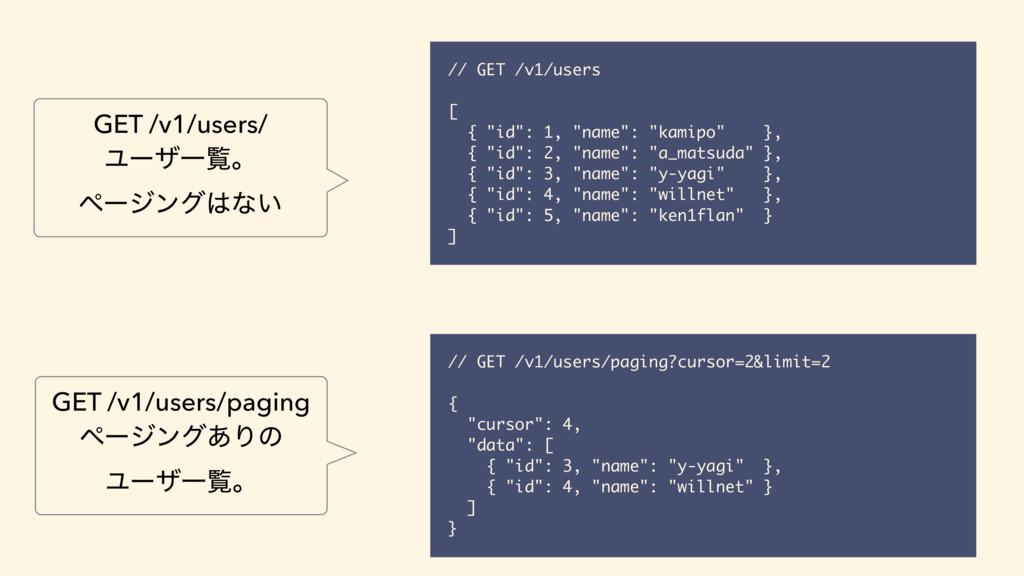 "// GET /v1/users [ { ""id"": 1, ""name"": ""kamipo"" ..."
