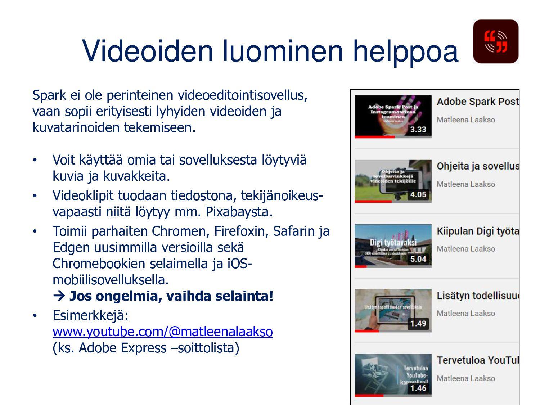Adobe Spark Page Tee sähköisiä julkaisuja, esit...