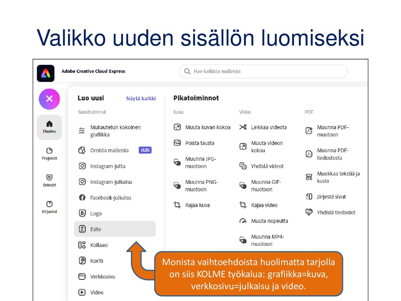 Adobe Spark Post Muut vaihtoehdot kuin video ja...