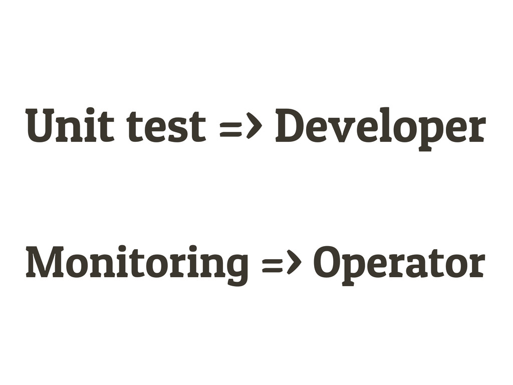 Unit test => Developer Monitoring => Operator