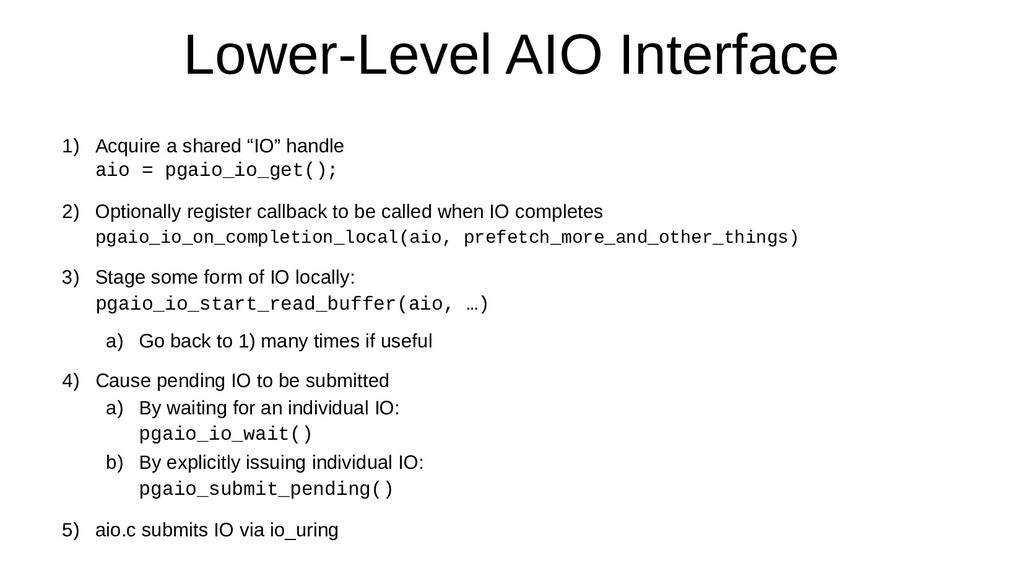 """Lower-Level AIO Interface 1) Acquire a shared """"..."""