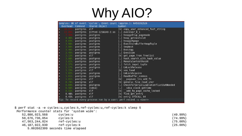 Why AIO? $ perf stat -a -e cycles:u,cycles:k,re...