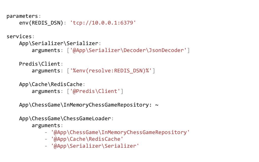 parameters: env(REDIS_DSN): 'tcp://10.0.0.1:637...