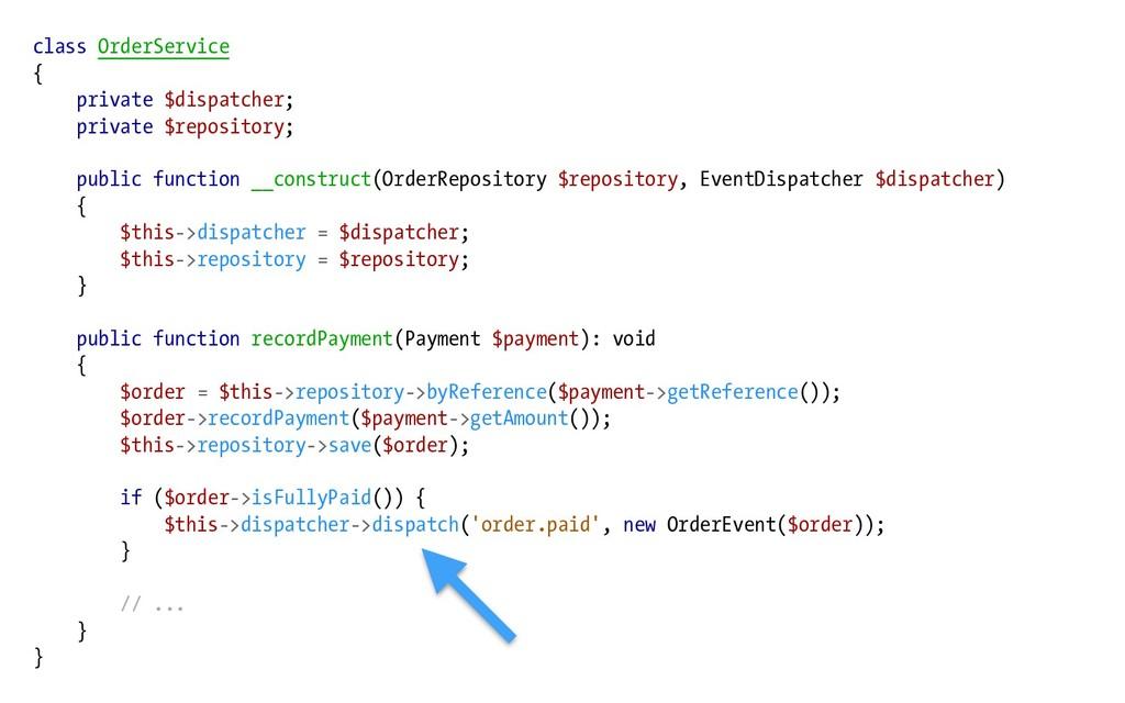 class OrderService { private $dispatcher; priva...