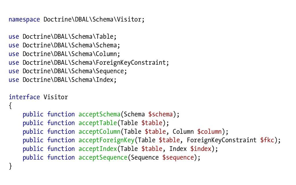 namespace Doctrine\DBAL\Schema\Visitor; use Doc...