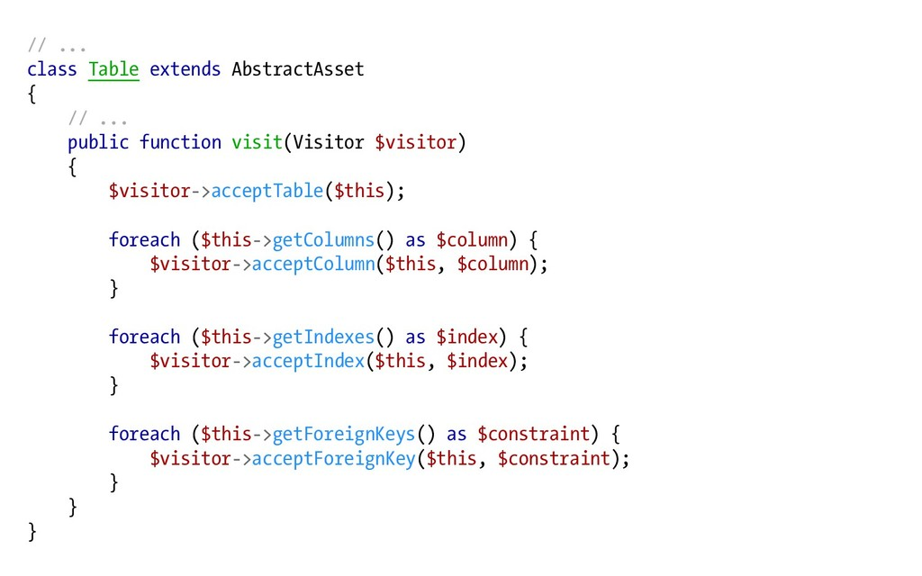 // ... class Table extends AbstractAsset { // ....