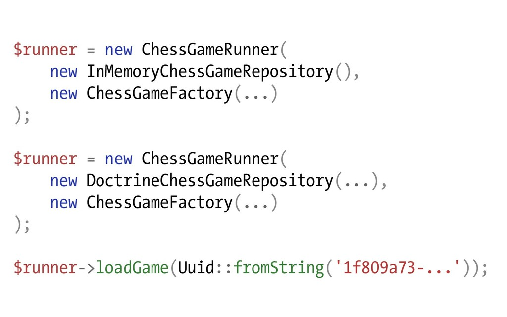 $runner = new ChessGameRunner( new InMemoryChes...