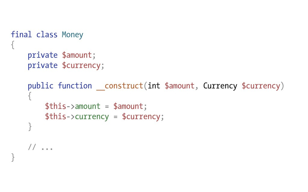 final class Money { private $amount; private $c...