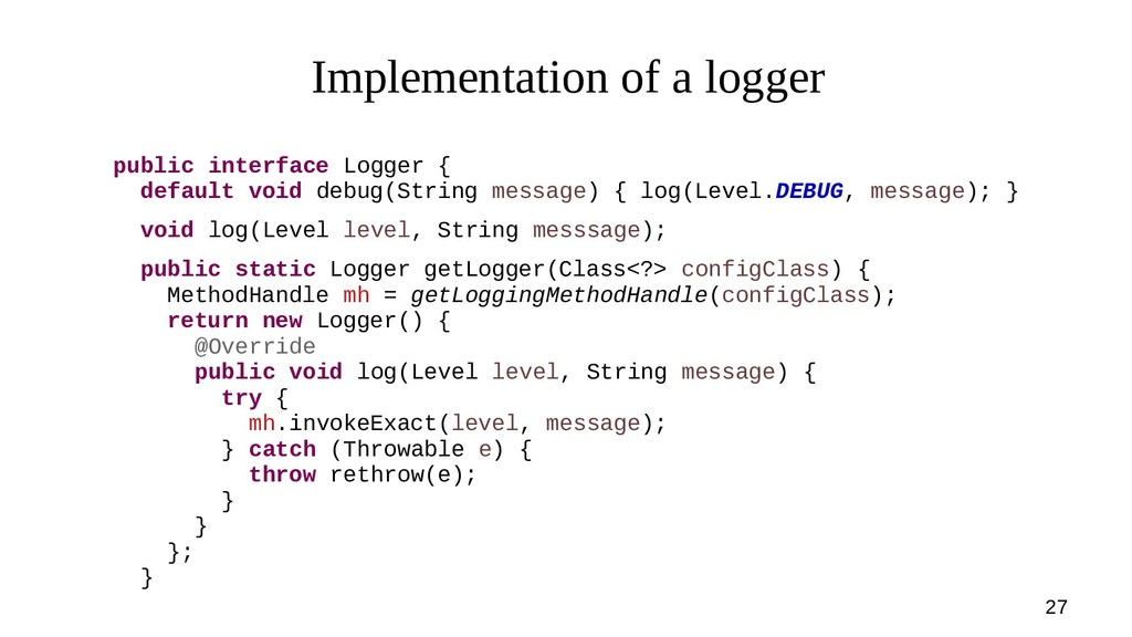 27 Implementation of a logger public interface ...