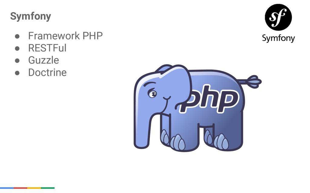 Symfony ● Framework PHP ● RESTFul ● Guzzle ● Do...
