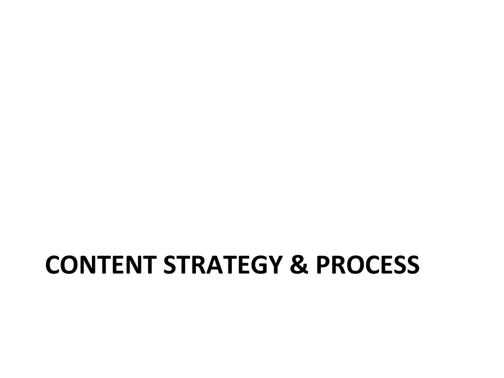 CONTENT STRATEGY & PROCESS