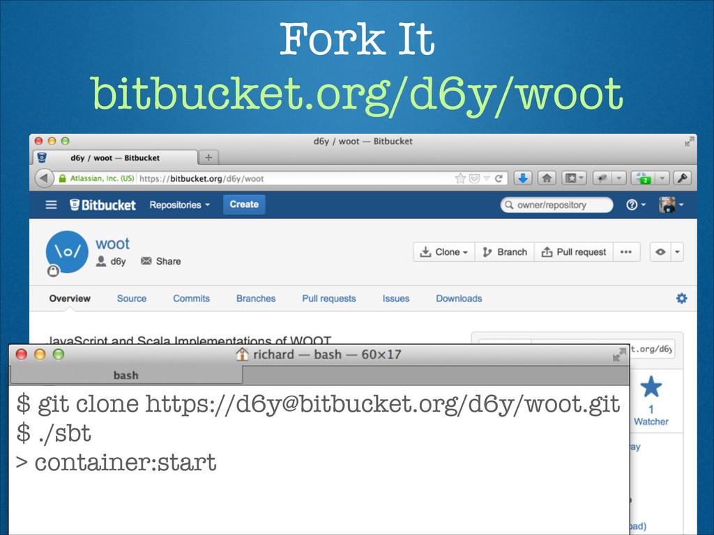 Fork It bitbucket.org/d6y/woot $ git clone htt...