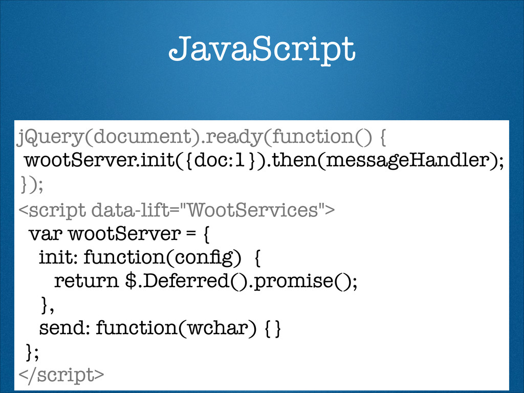 JavaScript jQuery(document).ready(function() { ...