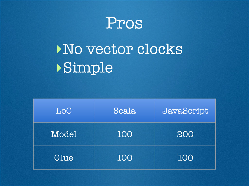 Pros ‣No vector clocks ‣Simple