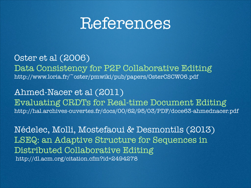 References Oster et al (2006) Data Consistency ...