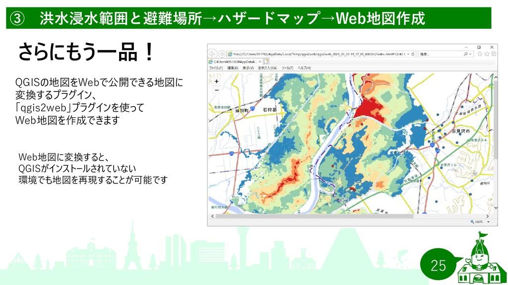 25 ③ 洪水浸水範囲と避難場所→ハザードマップ→Web地図作成 さらにもう一品! QGISの...