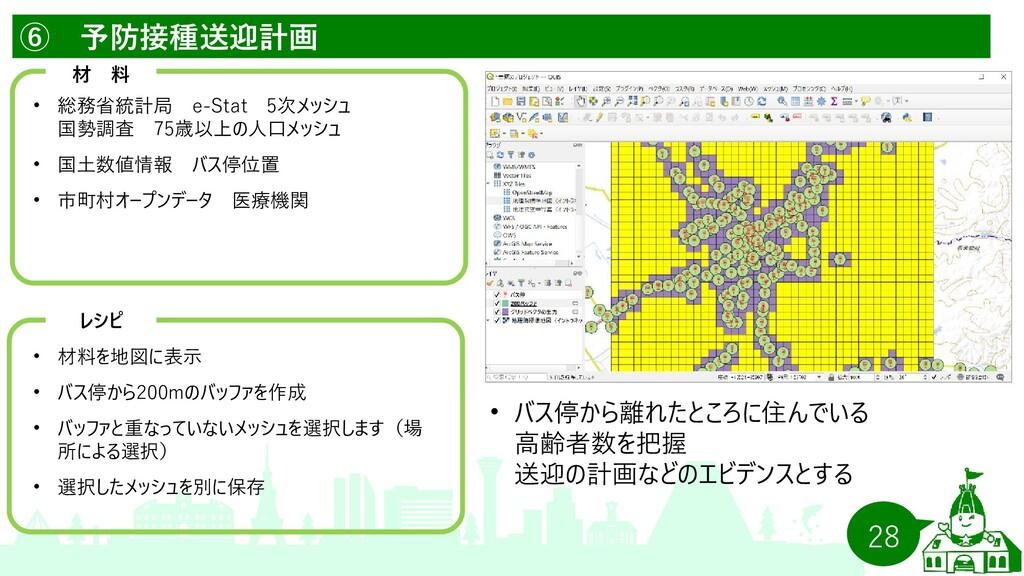 28 ⑥ 予防接種送迎計画   材 料 •   総務省統計局 e-Stat  5次メッシュ  ...