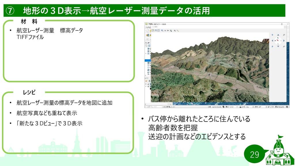 29 ⑦ 地形の3D表示→航空レーザー測量データの活用   材 料 •   航空レーザー測量 ...