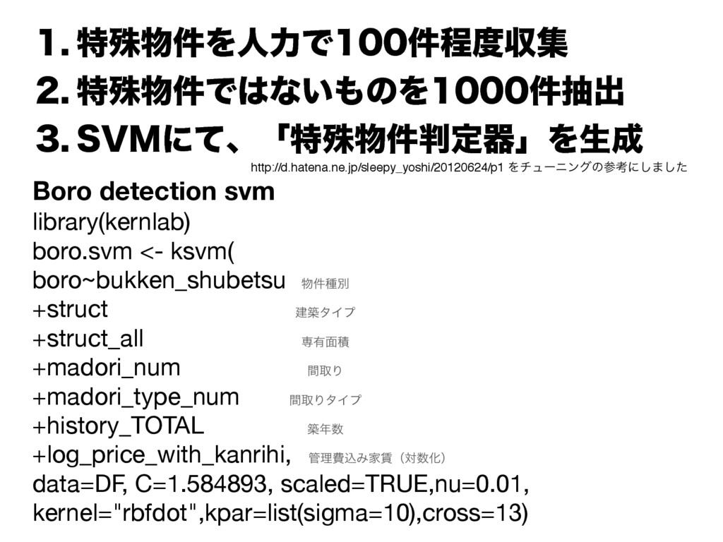 Boro detection svm library(kernlab)  boro.svm <...