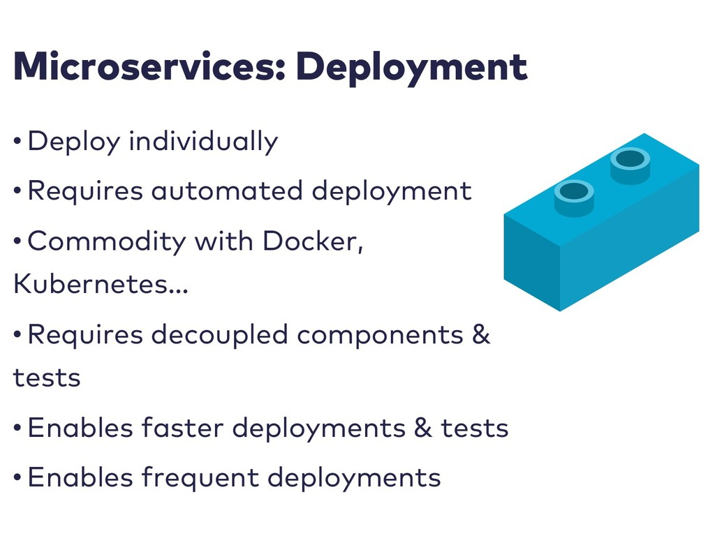 Microservices: Deployment • Deploy individually...