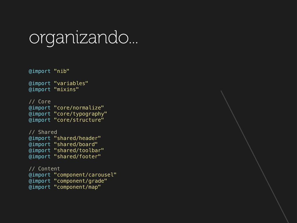 "organizando... @import ""nib"" @import ""variables..."
