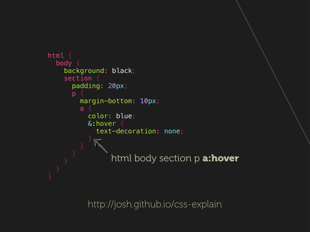 html { body { background: black; section { padd...