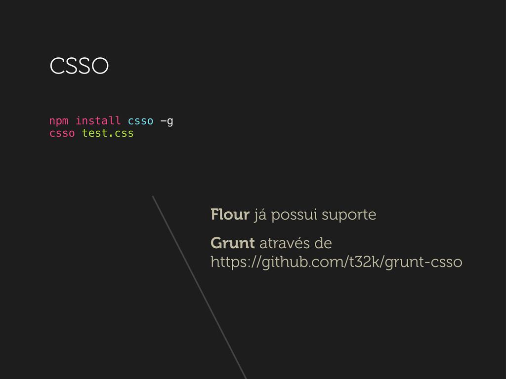 npm install csso -g csso test.css csso Flour já...