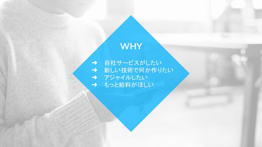➜ 自社サービスがしたい ➜ 新しい技術で何か作りたい ➜ アジャイルしたい ➜ もっと給料が...