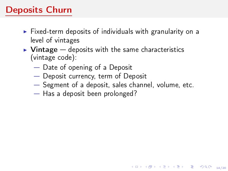 14/20 Deposits Churn Fixed-term deposits of ind...