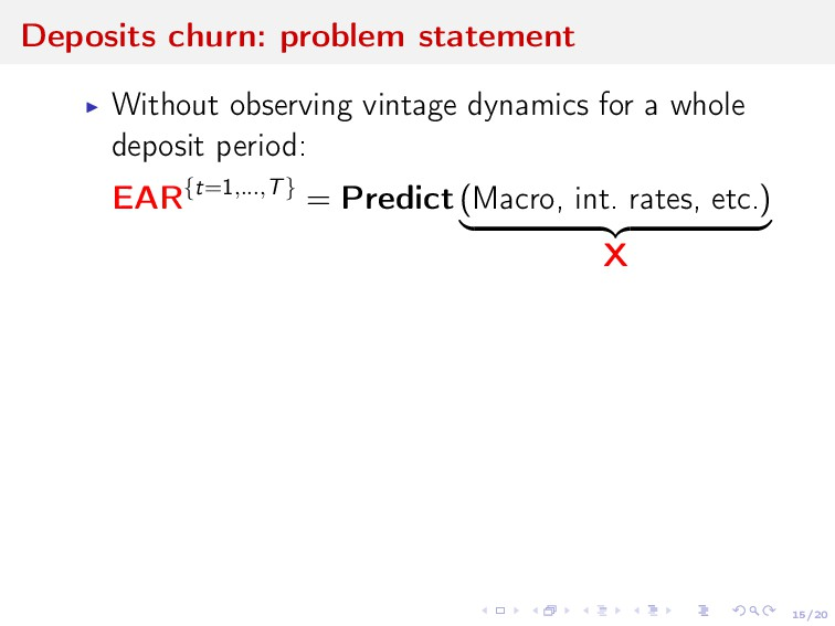 15/20 Deposits churn: problem statement Without...