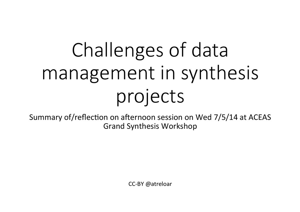 Challenges  of  data   management  in  synthesi...