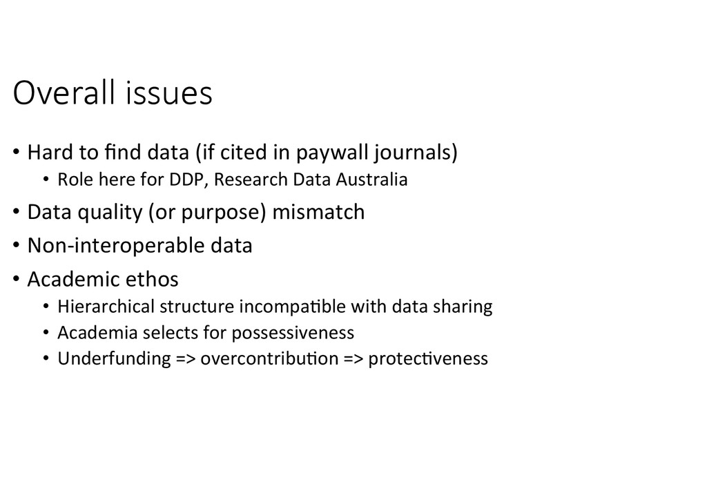 Overall  issues