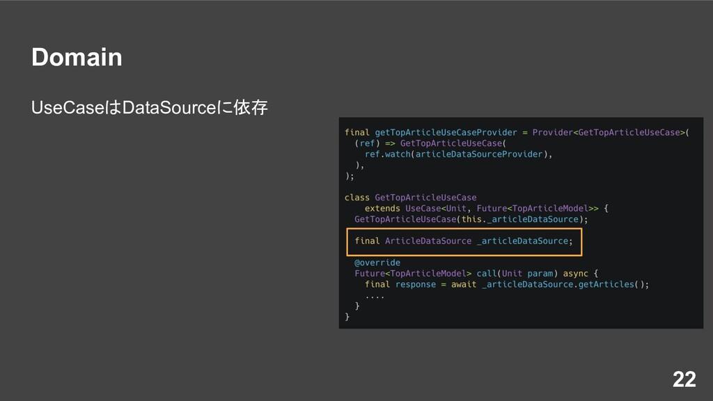 Domain UseCaseはDataSourceに依存 22