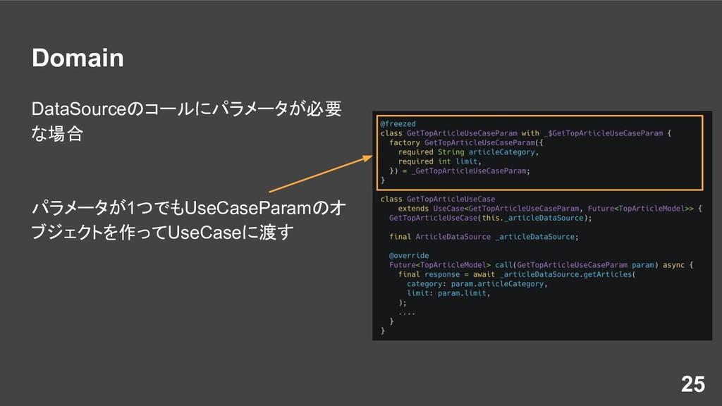 Domain DataSourceのコールにパラメータが必要 な場合 パラメータが1つでもUs...