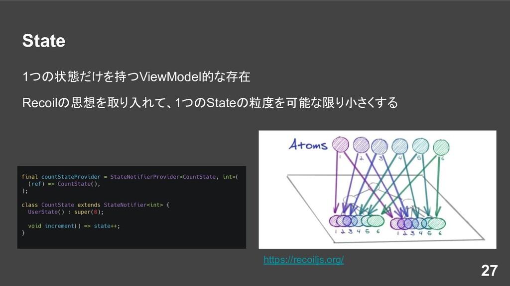 State 1つの状態だけを持つViewModel的な存在 Recoilの思想を取り入れて、1...