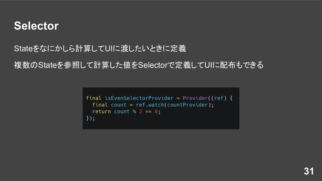 Selector Stateをなにかしら計算してUIに渡したいときに定義 複数のStateを参...