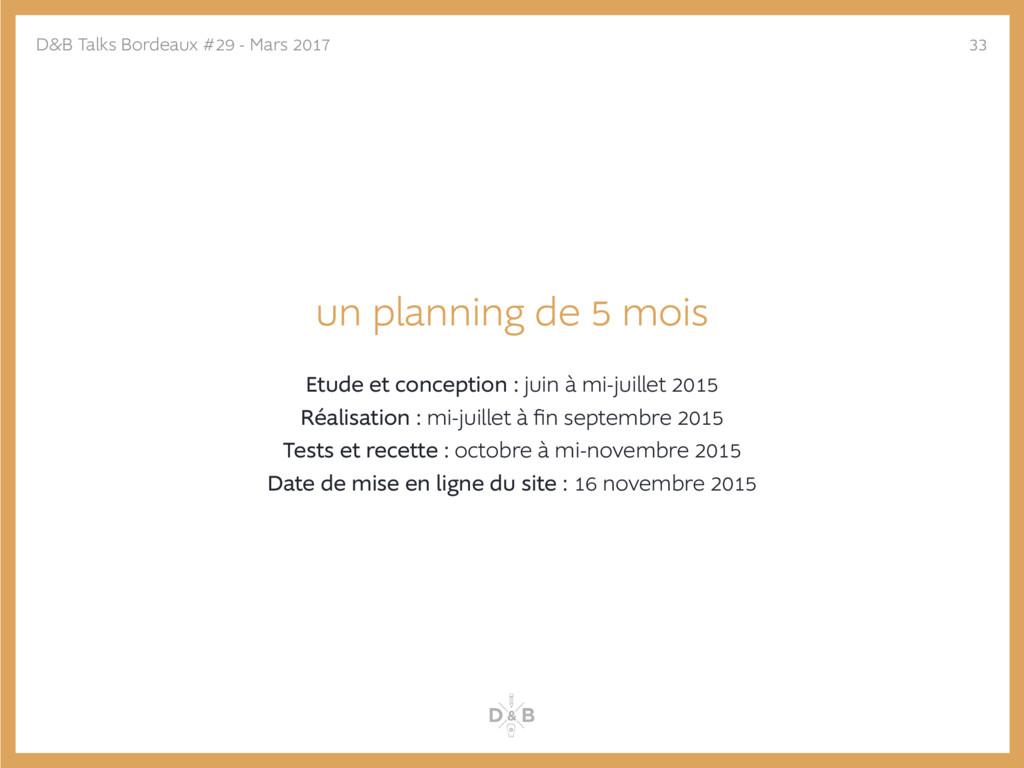 un planning de 5 mois Etude et conception : jui...