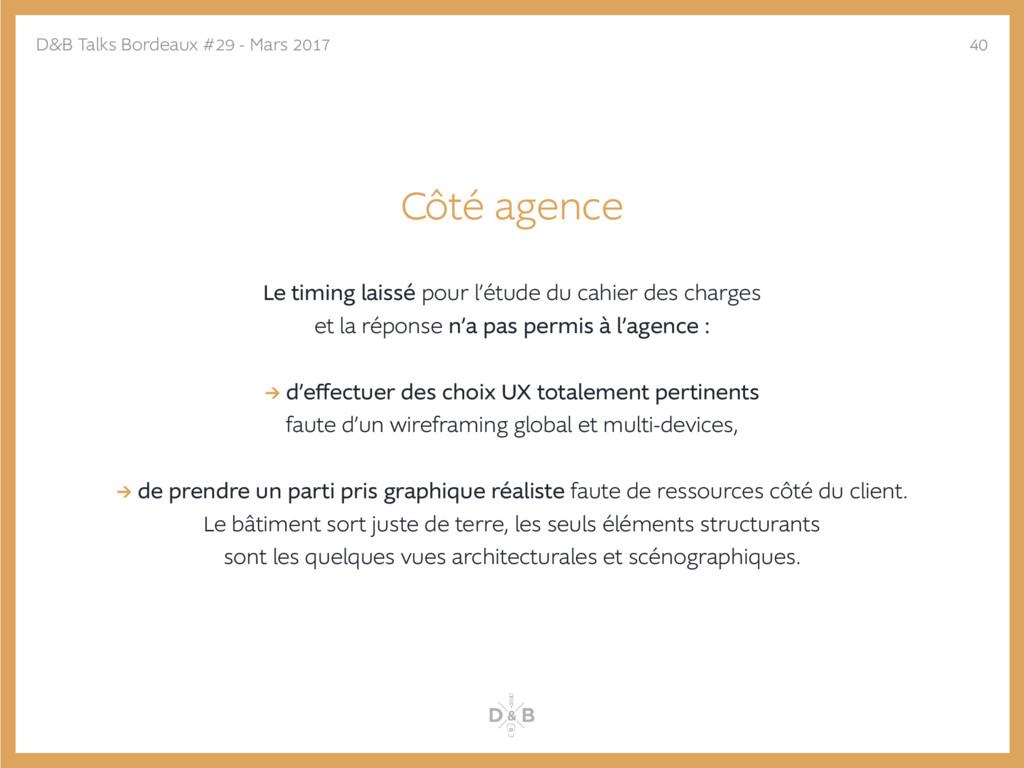 Côté agence Le timing laissé pour l'étude du ca...