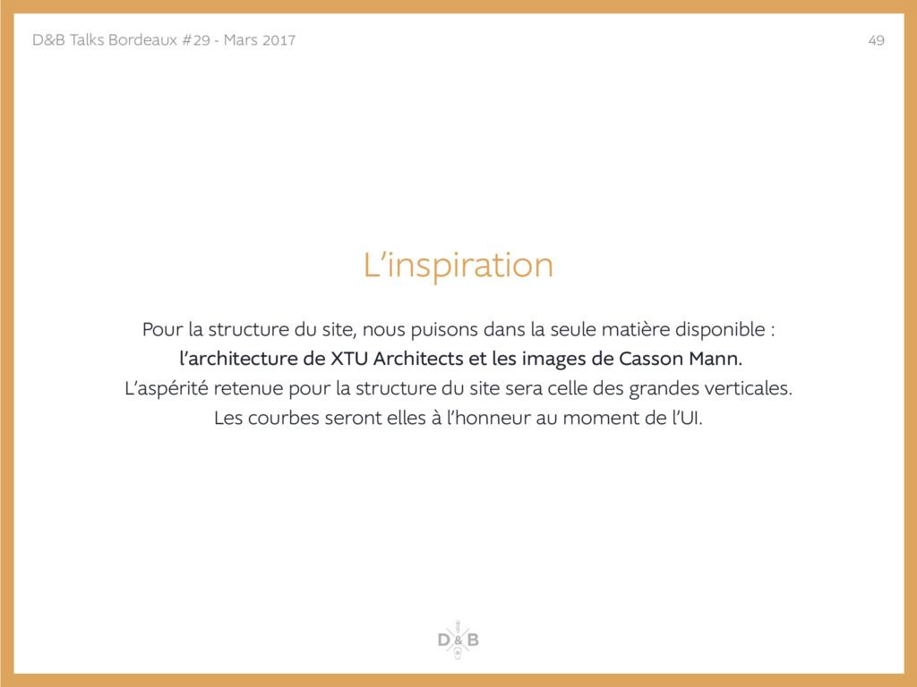 L'inspiration Pour la structure du site, nous p...