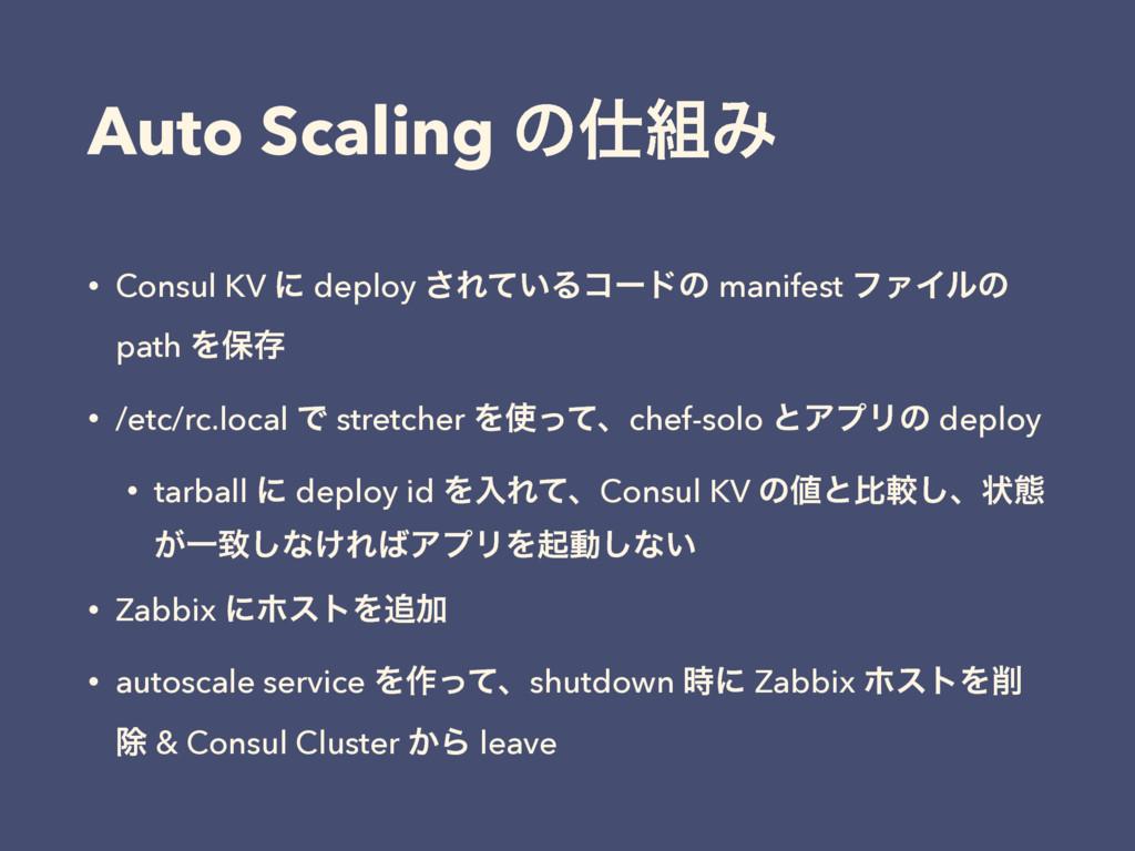 Auto Scaling ͷΈ • Consul KV ʹ deploy ͞Ε͍ͯΔίʔυ...