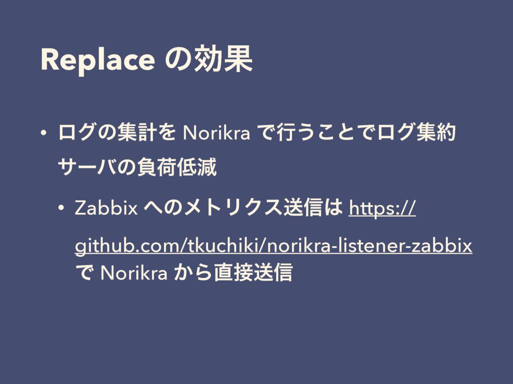 Replace ͷޮՌ • ϩάͷूܭΛ Norikra Ͱߦ͏͜ͱͰϩάू αʔόͷෛՙ...
