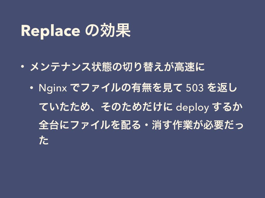 Replace ͷޮՌ • ϝϯςφϯεঢ়ଶͷΓସ͕͑ߴʹ • Nginx ͰϑΝΠϧͷ༗...