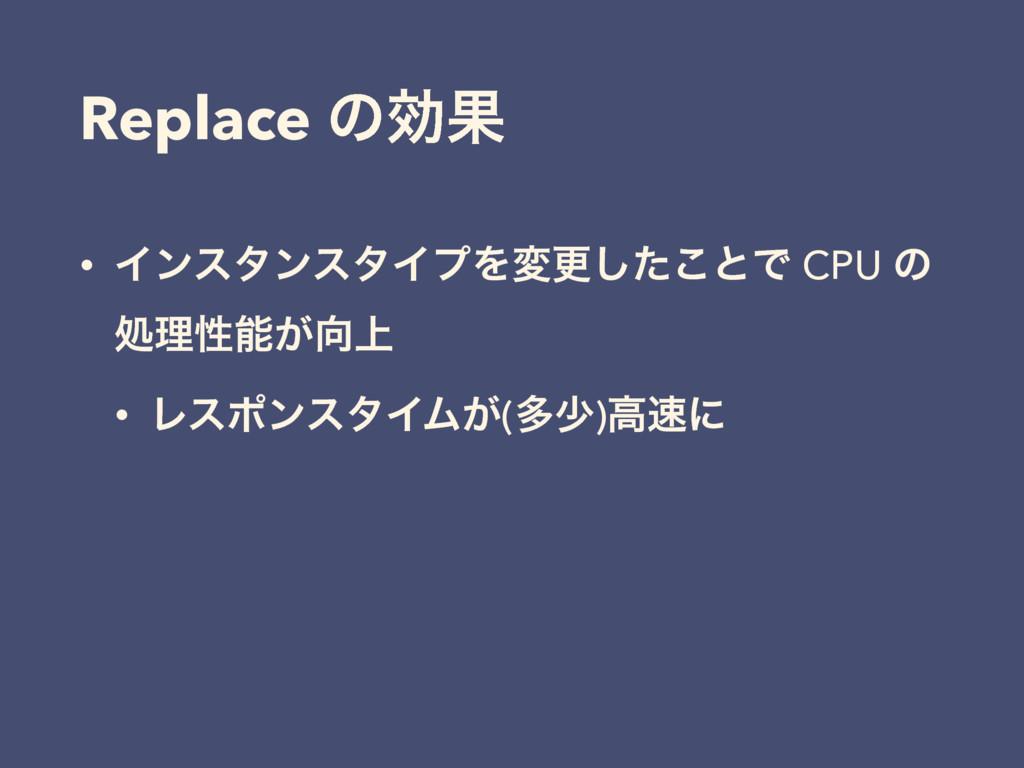 Replace ͷޮՌ • ΠϯελϯελΠϓΛมߋͨ͜͠ͱͰ CPU ͷ ॲཧੑ্͕ •...