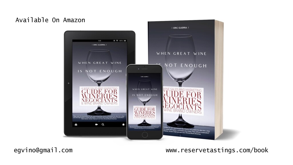 Available On Amazon egvino@gmail.com www.reserv...
