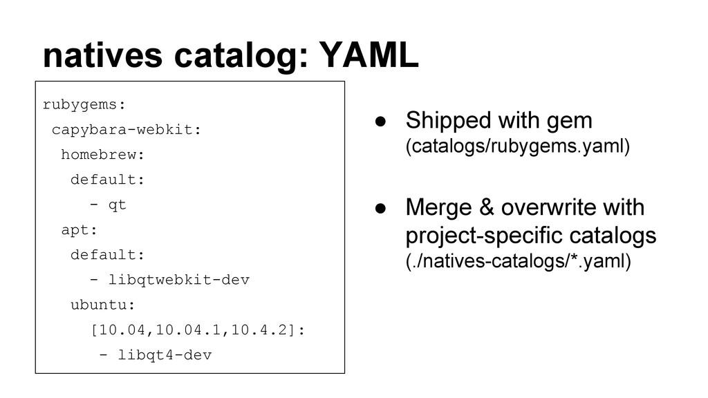 natives catalog: YAML rubygems: capybara-webkit...