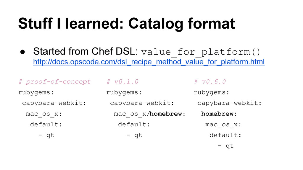 Stuff I learned: Catalog format ● Started from ...