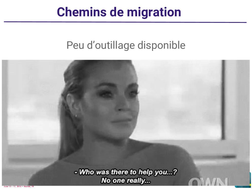 Chemins de migration Peu d'outillage disponible