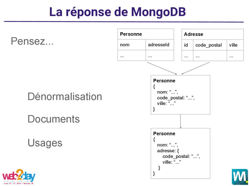 La réponse de MongoDB Pensez... Dénormalisation...