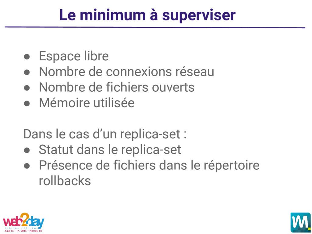 Le minimum à superviser ● Espace libre ● Nombre...
